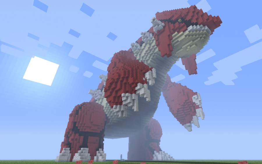 Giant 3d Pixel Art Groudon Creation 1015