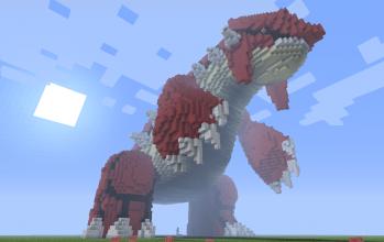 Giant 3D Pixel art Groudon