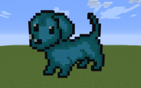 Blue Dog Pixel Art