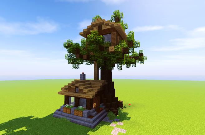 minecraft treehouse schematic  | minecraft-schematics.com