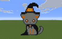 Witch Cat Pixel Art
