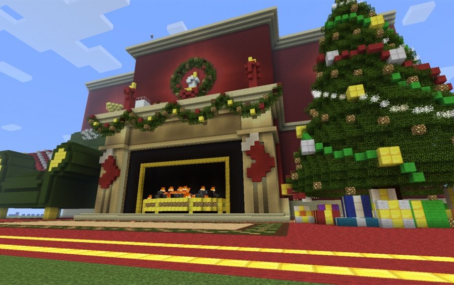 Christmas Decorations In Minecraft Pe : Christmas fireplace creation