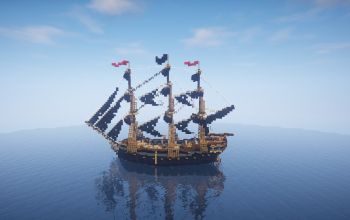 The pirate ship (sails raised)