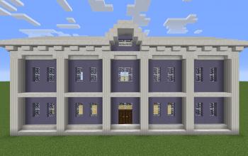 Light blue-white classical house