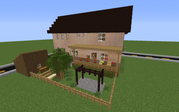 Middle-class Modern I-shaped House with Backyard
