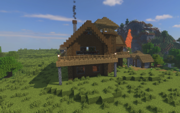 Small Wooden mansion 1.16.1 (Map + Sheme)
