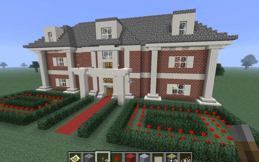 Minecraft huge mansion schematic suburban house 1 full for Minecraft big modern house schematic