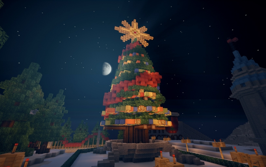 Christmas Minecraft World.Christmas Tree Creation 2098