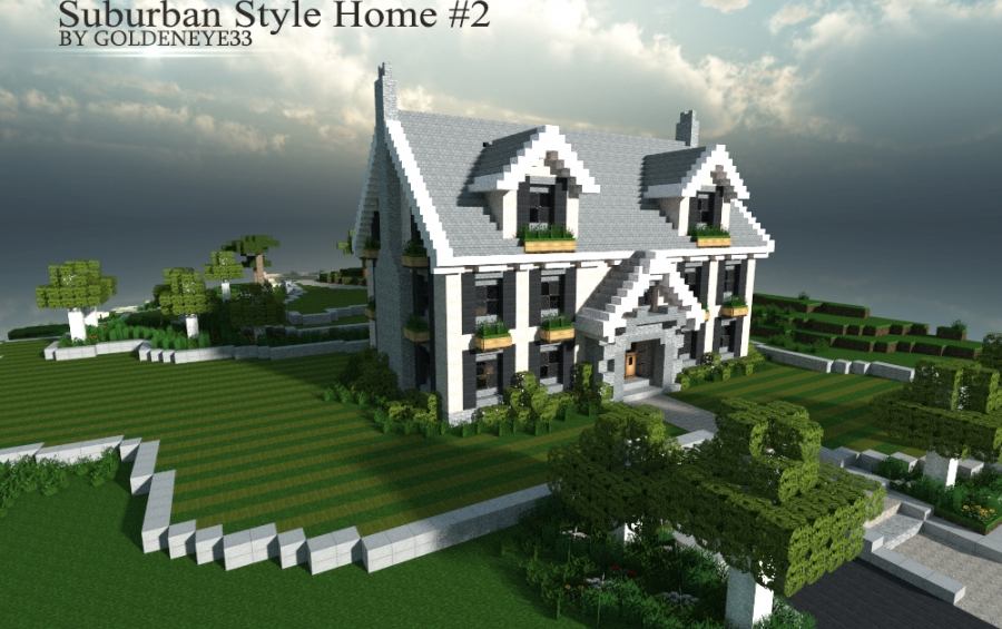 Suburban house 1 full furnished 1 7 4 creation 2618 for Minecraft big modern house schematic