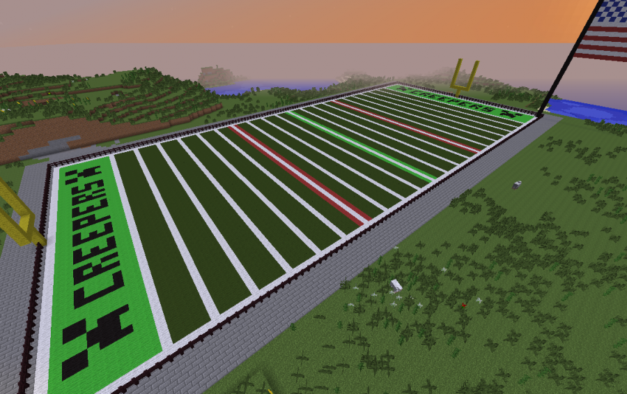 Full Scale Football Field With American Flag Creation 2885