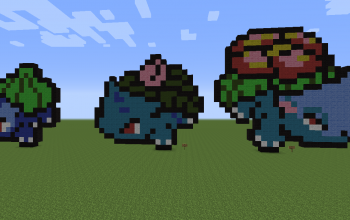 Bulbasaur, Ivysaur and Venusaur Pixel Art