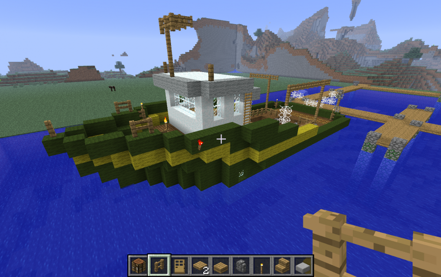 Fishing boat creation 340 for How to fish in minecraft pe