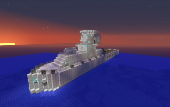 Large Navy Battleship With Small Carrier Pad