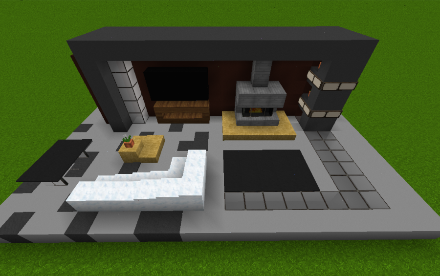 Small modern living room creation 4603 for Minecraft house interior living room