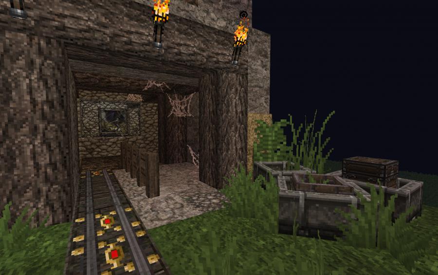 decorated mine shaft