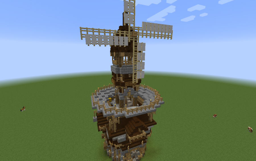 how to build a water windmill minecarft