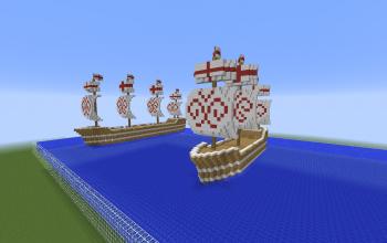2x medieval sail ships