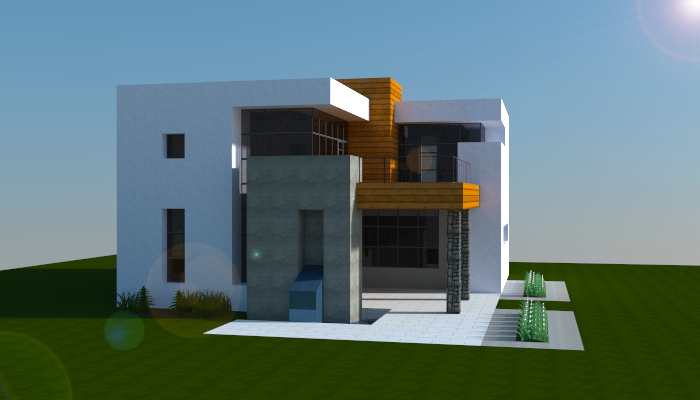 Simple modern house creation 6000 for Craftingpat modernes redstone haus