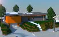 Modern house on a small hill