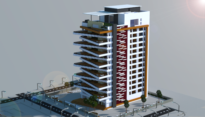 large modern apartment building, creation #6090