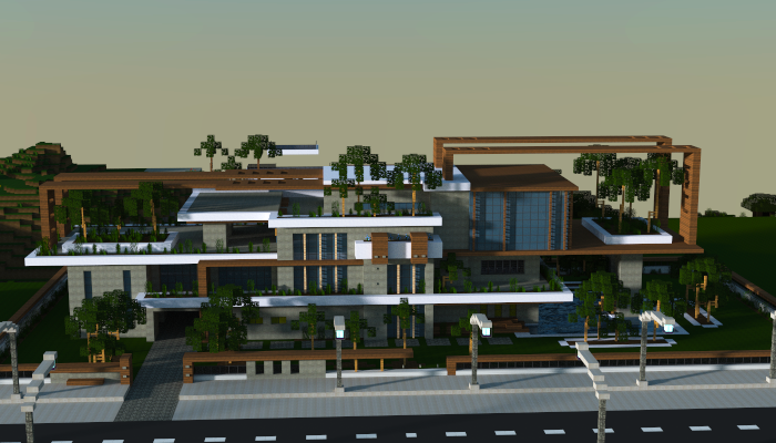 Minecraft large modern house schematic large modern for Modern house schematic