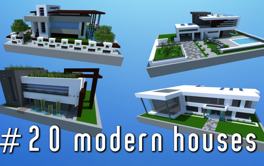 Minecraft modern house schematic pack modern houses for Modern house schematic