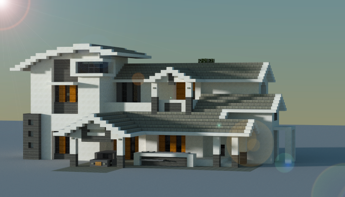 Modern house creation 7546 for Big modern houses on minecraft