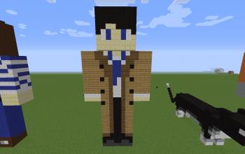 Castiel Pixel Art Statue
