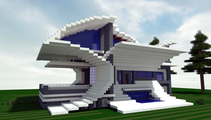 Futurist modern house 2 creation 3494 for Big modern houses on minecraft