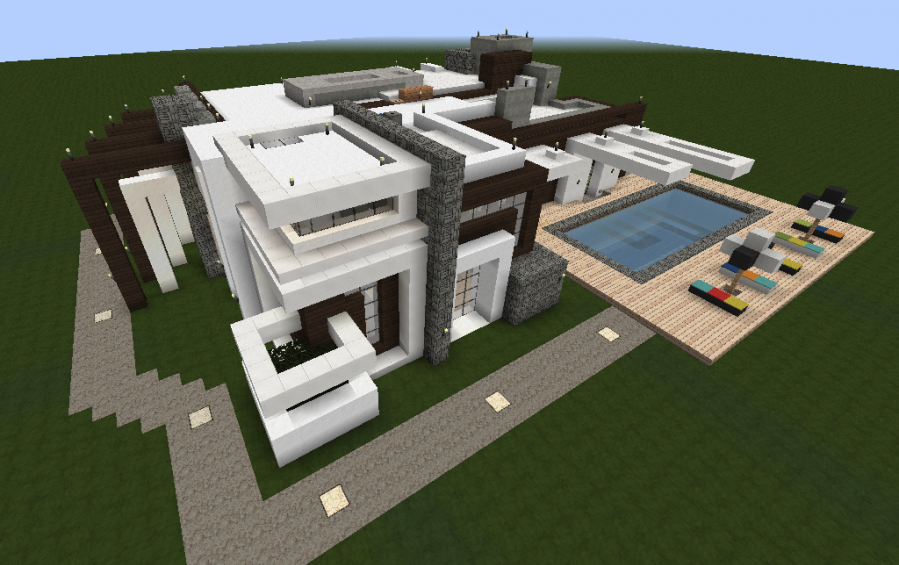 Image gallery modern minecraft house schematic for Minecraft big modern house schematic