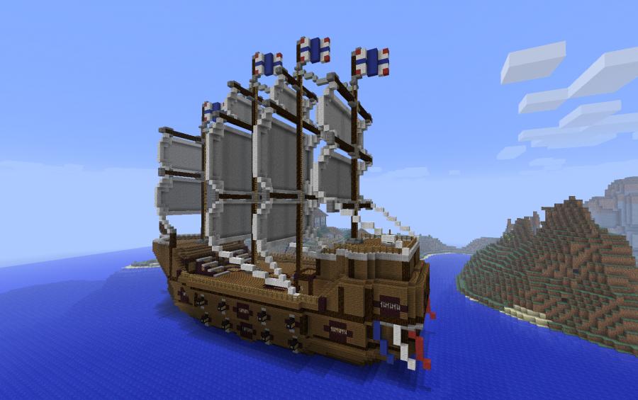creative temper s trading ship creation 402 rh minecraft schematics com Minecraft Ship Building minecraft boat dock schematic