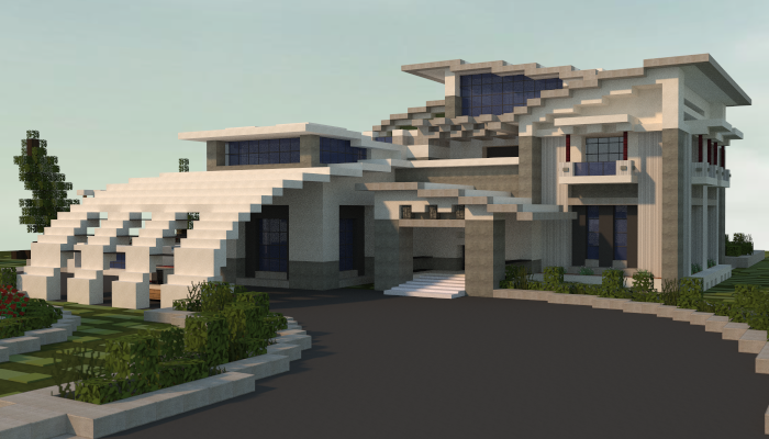 Minecraft big modern house schematic modern house for Modern house schematic