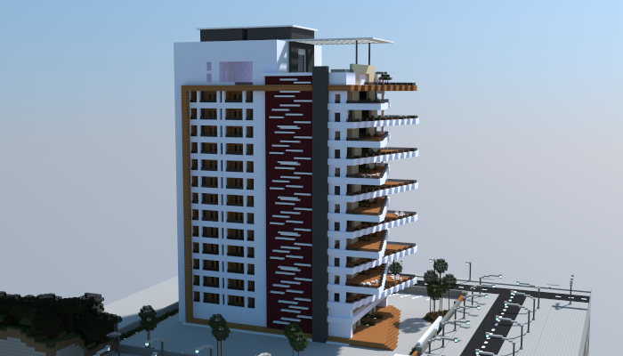 Apartment Building Minecraft large modern apartment building, creation #6090
