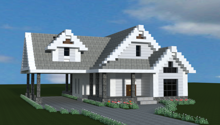 Small traditional house creation 7869 for Minecraft big modern house schematic